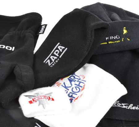 Čepice, rukavice, šály - reklamní textil, potisky, výšivky
